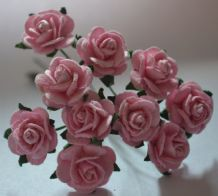 1.5cm LIGHT PINK Mulberry Paper Roses